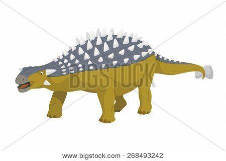 Ankylosaurus Vector Illustration Isolated In White Background. Dinosaurs Collection.