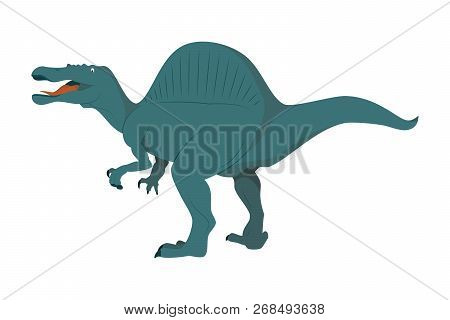 Spinosaurus Vector Illustration Isolated In White Background. Dinosaurs Collection.