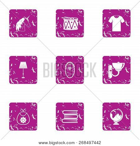School Uniform Icons Set. Grunge Set Of 9 School Uniform Vector Icons For Web Isolated On White Back