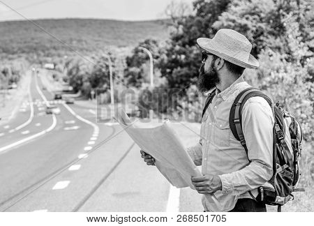 I Am Lost On My Way. Tourist Backpacker Map Lost Direction Travelling. Around The World. Find Direct