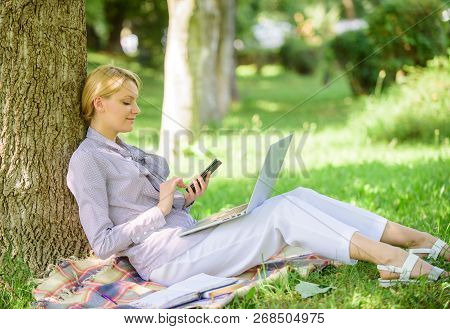 Use Opportunity Digital Technology. Woman With Laptop And Smartphone Working Outdoors. Girl Use Mode