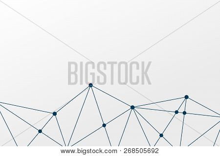 Abstract Vector Triangle Background. Polygonal Network Pattern. Connected Lines Illustration For Bus