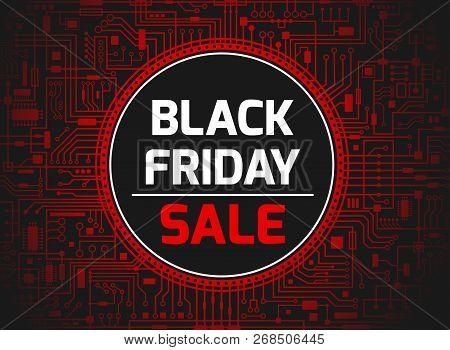 Black Friday Sale Design Template. Futuristic Chipset Technology Background. Black Friday Red Banner