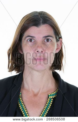 Portrait Of Beautiful Forty Mid Woman In Front Of White Background For Passport Id Driver Licence