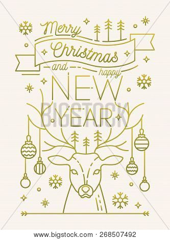 merry christmas and happy new year greeting card or postcard template with deer antlers decorated by