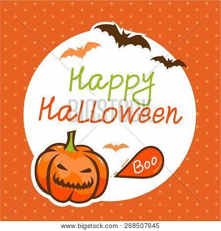 Vector Cute Happy Halloween Design Template. Halloween Background.
