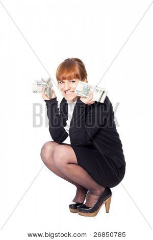 Young woman cath falling money