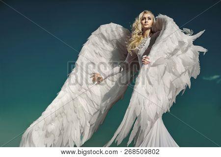 Fine art image. Stunning blonde beauty as an angel.