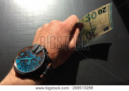 White Man's Hand Holds A Bank Note, Keep Money, Money In The Palm Of Your Hand, Receive Money, Give