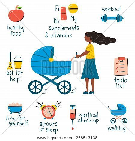Vector Illustration With Postpartum Recovery Infographic. Cartoon Trendy Icon. Walking Woman With St