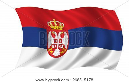 Serbian Flag In The Colors Blue, White And Red