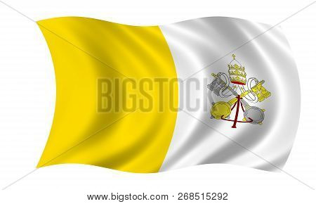 Waving Vatican Flag In The Colors Yellow And White