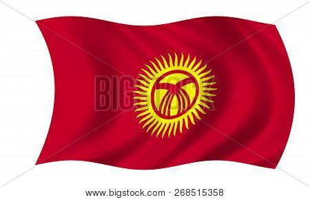 Waving Kyrgyzstan In The Colors Red And Yellow