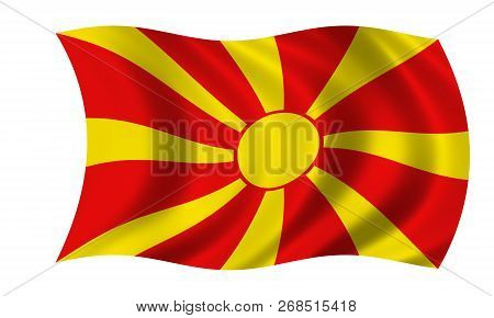 Waving Macedonian Flag In The Colors Red And Yellow