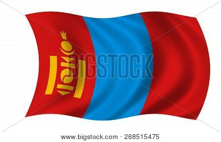 Waving Mongolian Flag In The Colors Blue And Red