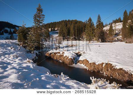 Little Brook In Wintry Frosty Landscape Spitzing Area, Upper Bavaria