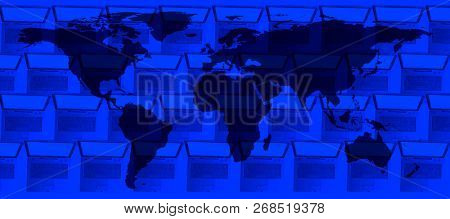 conceptual technology image of world map and laptop computers in a row. NASA world map image layered and used; www.nasa.gov , https://www.flickr.com/photos/gsfc/sets/72157632172101342
