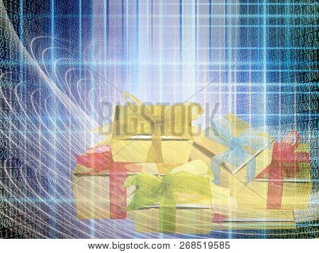 conceptual internet business illustration of binary code and shiny gift boxes
