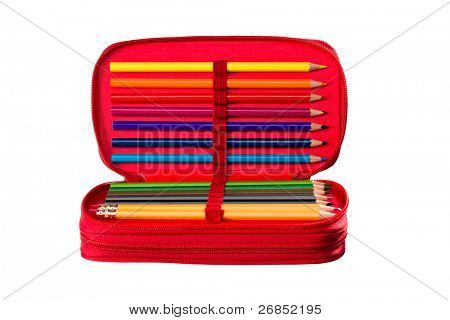 Writing and drawing tools in a pencil box for school, office and home.