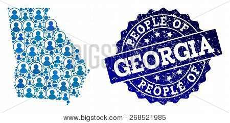 People Combination Of Blue Population Map Of Georgia State And Rubber Seal Stamp. Vector Seal With U