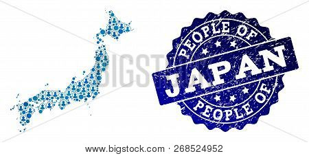 People Collage Of Blue Population Map Of Japan And Scratched Seal. Vector Seal With Distress Rubber