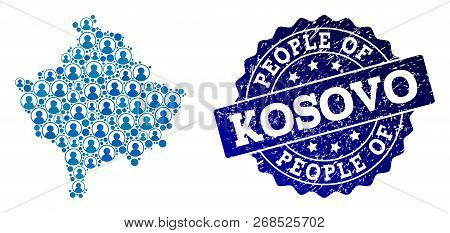 People combination of blue population map of Kosovo and rubber seal stamp. Vector seal with corroded rubber texture. Mosaic map of Kosovo constructed with rounded users. poster