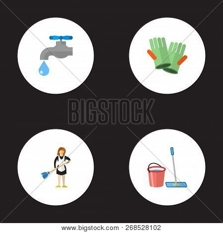 Set Of Cleaning Icons Flat Style Symbols With Housemaid, Cleaning Gloves, Bucket With Besom And Othe