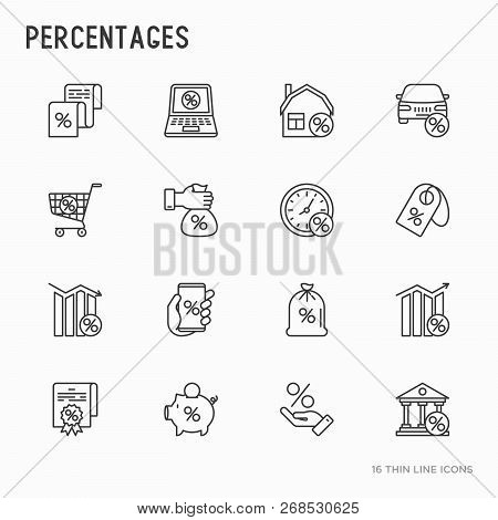 Percentages Concept With Thin Line Icons Set: Loan, Credit, Offer, Interest Rate, Sale, Discount, Pe