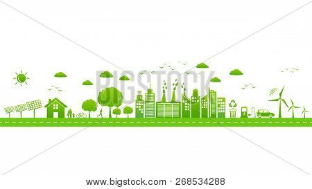 World Environmental With Sustainable Development, Ecology Friendly And Green City Concept,vector Ill