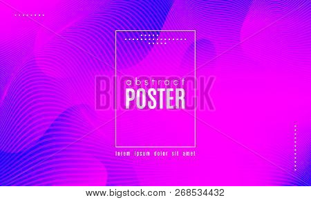 Gradient Liquid Shapes Composition. Abstract Wave Background With Distorted Lines. Effect Movement O