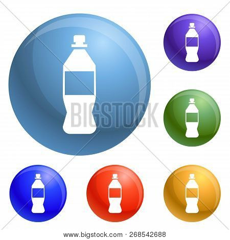 Plastic Bottle Icons Set Vector 6 Color Isolated On White Background