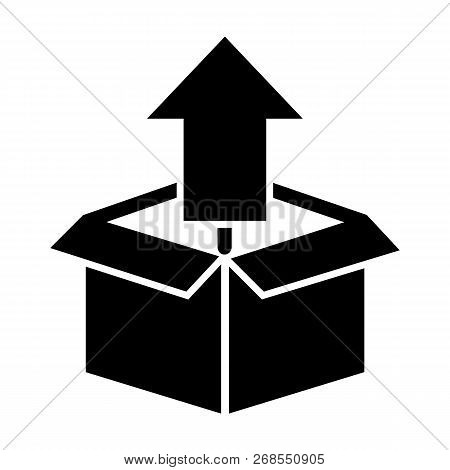 Unpacking Solid Icon. Box With Up Arrow Vector Illustration Isolated On White. Unboxing Glyph Style