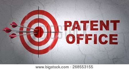 Success Law Concept: Arrows Hitting The Center Of Target, Red Patent Office On Wall Background, 3d R