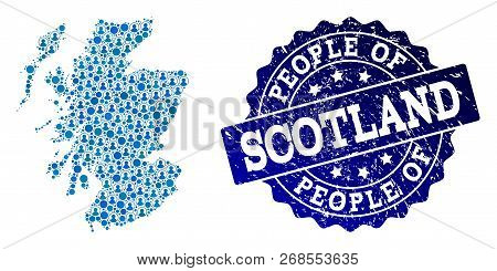 People Combination Of Blue Population Map Of Scotland And Rubber Seal. Vector Seal With Corroded Rub