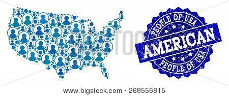 People Combination Of Blue Population Map Of Usa And Rubber Seal. Vector Imprint With Grunge Rubber