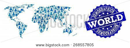 People Collage Of Blue Population Map Of World And Corroded Stamp. Vector Imprint With Corroded Rubb
