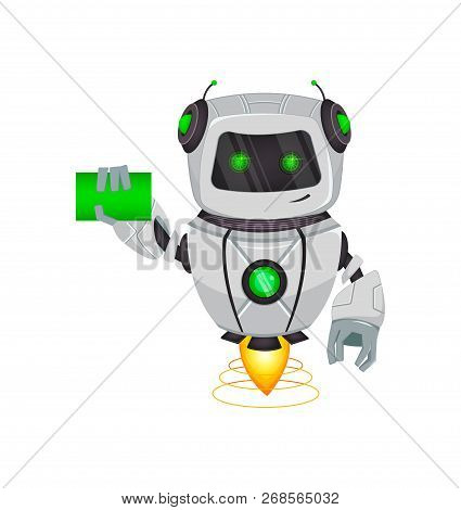 Robot With Artificial Intelligence, Bot. Funny Cartoon Character Holds Blank Business Card. Humanoid