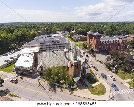 Lutheran Church and Sacred Heart Parish aerial view in Newton Centre, Massachusetts, USA. poster