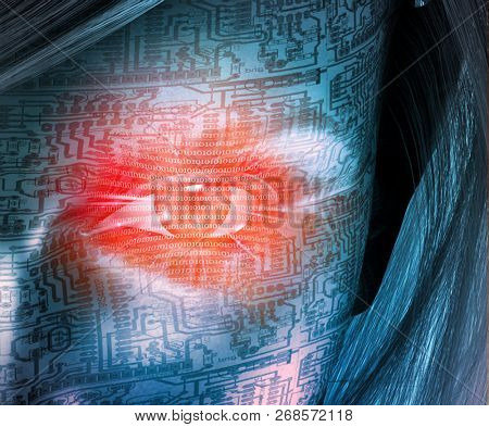 Cyborg woman face. Binary code in red eye, circuit pattern. 3D rendering