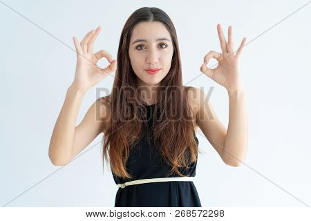 Portrait Of Positive Young Businesswoman Showing Ok Sign. Asian Woman Gesturing Alright. Success Con