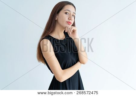 Portrait Of Serious Young Asian Businesswoman Standing In Doubt. Arrogant Beautiful Woman Standing W