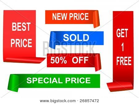set of color sale sticker set, vector
