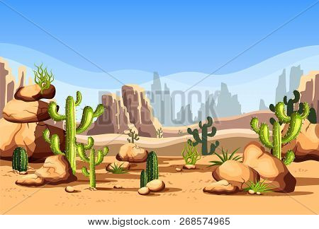 Canyon Scenery With Rocks And Hills, Cactus. Mexico Desert Landscape Or American Wildlife Nature At