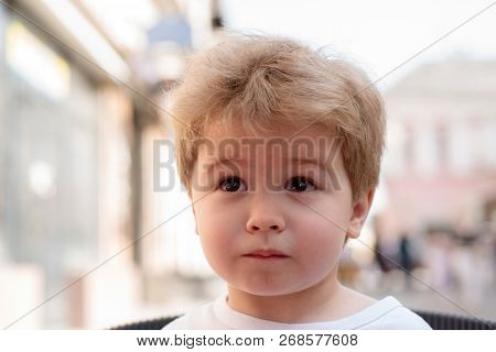 Developing A Hair Care Routine That Works. Little Child With Stylish Haircut. Little Child With Shor