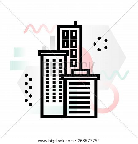Concept Icon Of Company Building With Abstract Background, Modern Thin Line Design Vector Illustrati