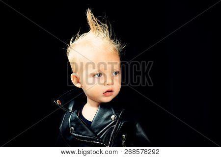 I Feel Music In My Mind As Always. Rock Style Child. Little Rock Star. Little Child Boy In Rocker Ja