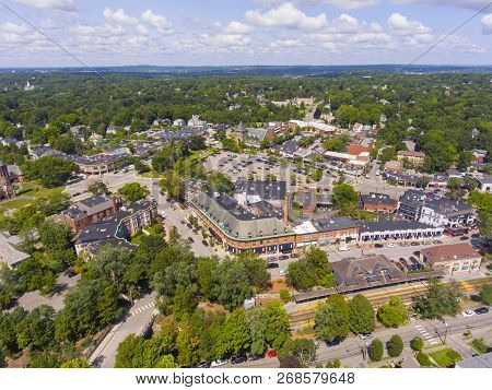 Historic Building In Union Street Historic District Aerial View In Newton Centre, Massachusetts, Usa