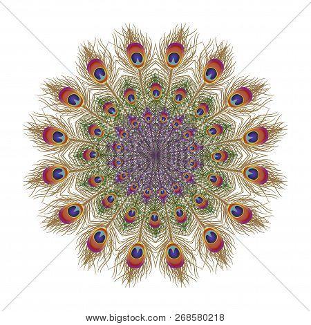Eautiful Card With Feather Peacock. Card Of Mandala. Bright Illustration. Pattern Kaleidoscope, Indi