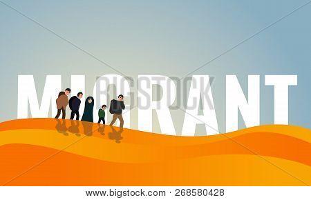 Dessert Migrant Day Concept Banner. Cartoon Illustration Of Dessert Migrant Day Concept Banner For W
