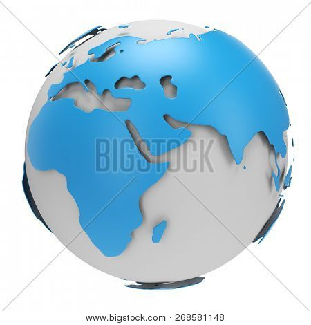Blue and White Earth Globe Isolated on White Background. International Business Concept